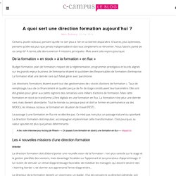 A quoi sert une direction formation aujourd'hui ?