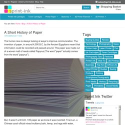 A Short History of Paper