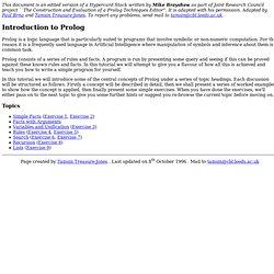 A Short Tutorial on Prolog