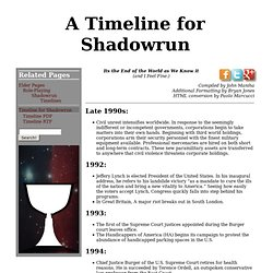 A Timeline for Shadowrun