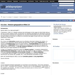 A la Une : Histoire-géographie et Web 2.0
