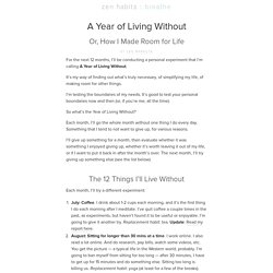 A Year of Living Without