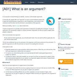 [A01] What is an argument?