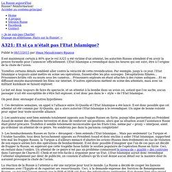 A321: Et si ça n'était pas l'Etat Islamique?