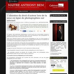 L'abandon du droit d'auteur lors de la mise en ligne de photographies sur internet
