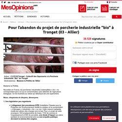 """Pour l'abandon du projet de porcherie industrielle """"bio"""" à Tronget (03 - Allier)"""