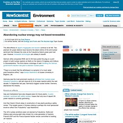 Abandoning nuclear energy may not boost renewables - environment - 02 April 2012
