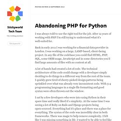 Abandoning PHP for Python