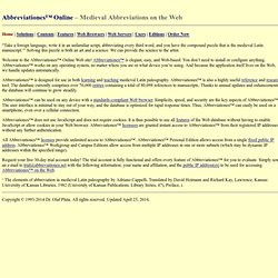 Abbreviationes™ Online: The first Web database of medieval Latin abbreviations