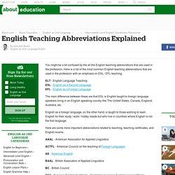English Teaching Abbreviations Explained