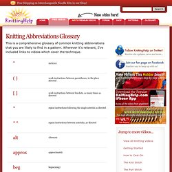 Knitting Abbreviations Glossary