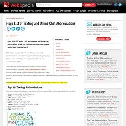 Huge List of Texting & Chat Abbreviations - Webopedia