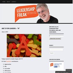 """ABC's for Leaders – """"A"""""""