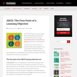 ABCD: The Four Parts of a Learning Objective