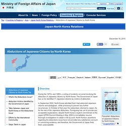 Abductions of Japanese Citizens by North Korea | Ministry of Foreign Affairs of Japan