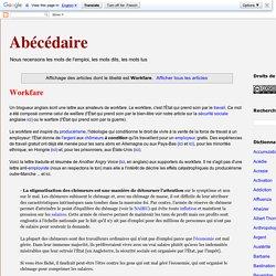 Abécédaire: Workfare