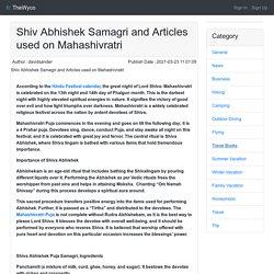 Shiv Abhishek Samagri and Articles used on Mahashivratri