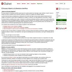 El Acceso Abierto a la literatura científica - Páginas de Ayuda - Dialnet