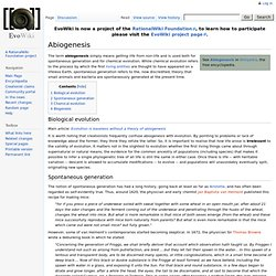 Abiogenesis - EvoWiki