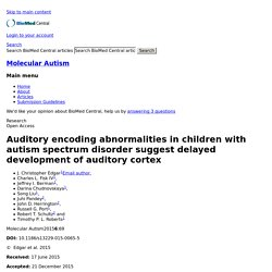 Auditory encoding abnormalities in children with autism spectrum disorder suggest delayed development of auditory cortex