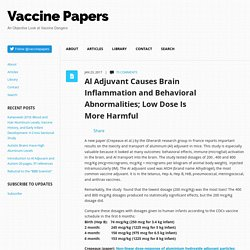 Al Adjuvant Causes Brain Inflammation and Behavioral Abnormalities; Low Dose Is More Harmful vaccinepapers.org