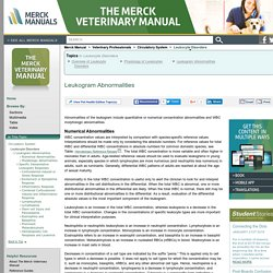 Leukogram Abnormalities: Leukocyte Disorders: Merck Veterinary Manual