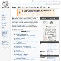 Décret d'abolition de l'esclavage du 4 février 1794