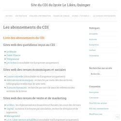Les abonnements du CDI – Site du CDI du lycée Le Likès, Quimper