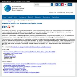 Aboriginal and Torres Strait Islander Social Justice - Australian Human Rights Commission