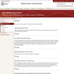 General - Aboriginal Education - The Department of Education