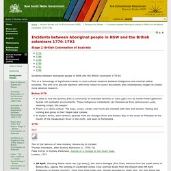 Incidents between Aboriginal people in NSW and the British colonisers 1770-1792