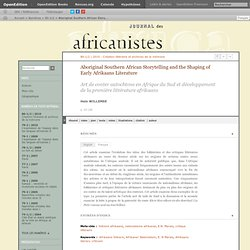 Aboriginal Southern African Storytelling and the Shaping of Early Afrikaans Literature
