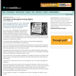 The Myth of Aboriginal Voting Rights