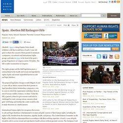 Spain: Abortion Bill Endangers Girls
