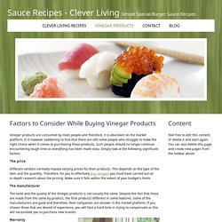 Factors to Consider While Buying Vinegar Products