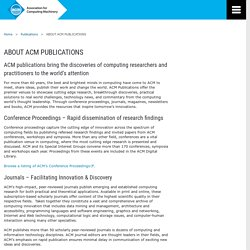 ABOUT ACM PUBLICATIONS