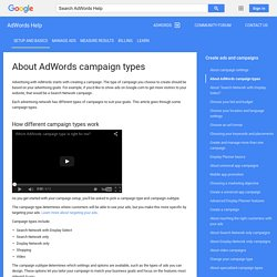 About AdWords campaign types - AdWords Help
