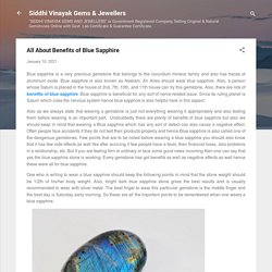 All About Benefits of Blue Sapphire