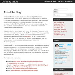 About the blog - Online By Nature