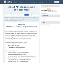 About Air Canada rouge business class
