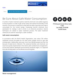 Be Sure About Safe Water Consumption