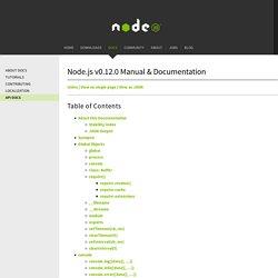 About this Documentation Node.js v0.12.0 Manual & Documentation
