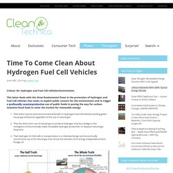 About Hydrogen Fuel Cell Vehicles (They're Not Clean)
