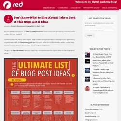 Don't Know What to Blog About? Take a Look at This Huge List of Ideas