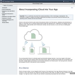 About Incorporating iCloud into Your App