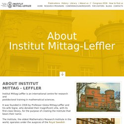 About InstitutMittag - Leffler