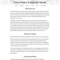 About this site - Notes from a Linguistic Mystic