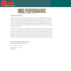 About High Performance magazine