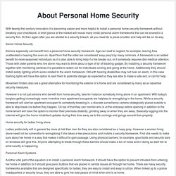 About Personal Home Security