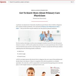 Get To Know More About Primary Care Physicians